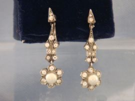 1920s - 1930s Ciro Pearl and Diamante Screw-on Earrings Marked SCP (SOLD)